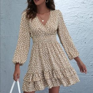 Print ruffled hem mini dress